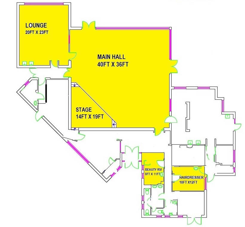 Linden Hall layout - hall hire